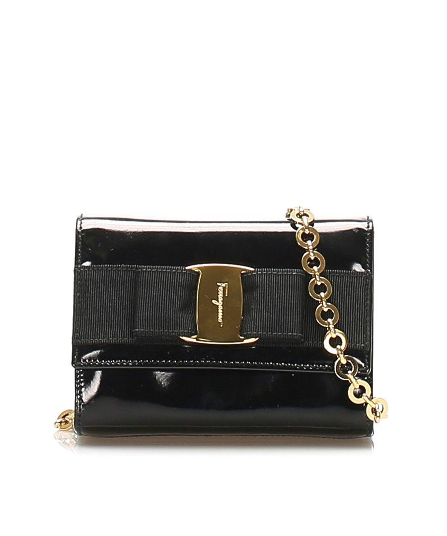 Image for Vintage Ferragamo Vara Patent Leather Shoulder Bag Black