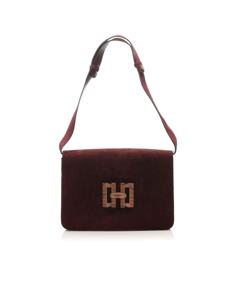 Image for Vintage Ferragamo Suede Shoulder Bag Brown