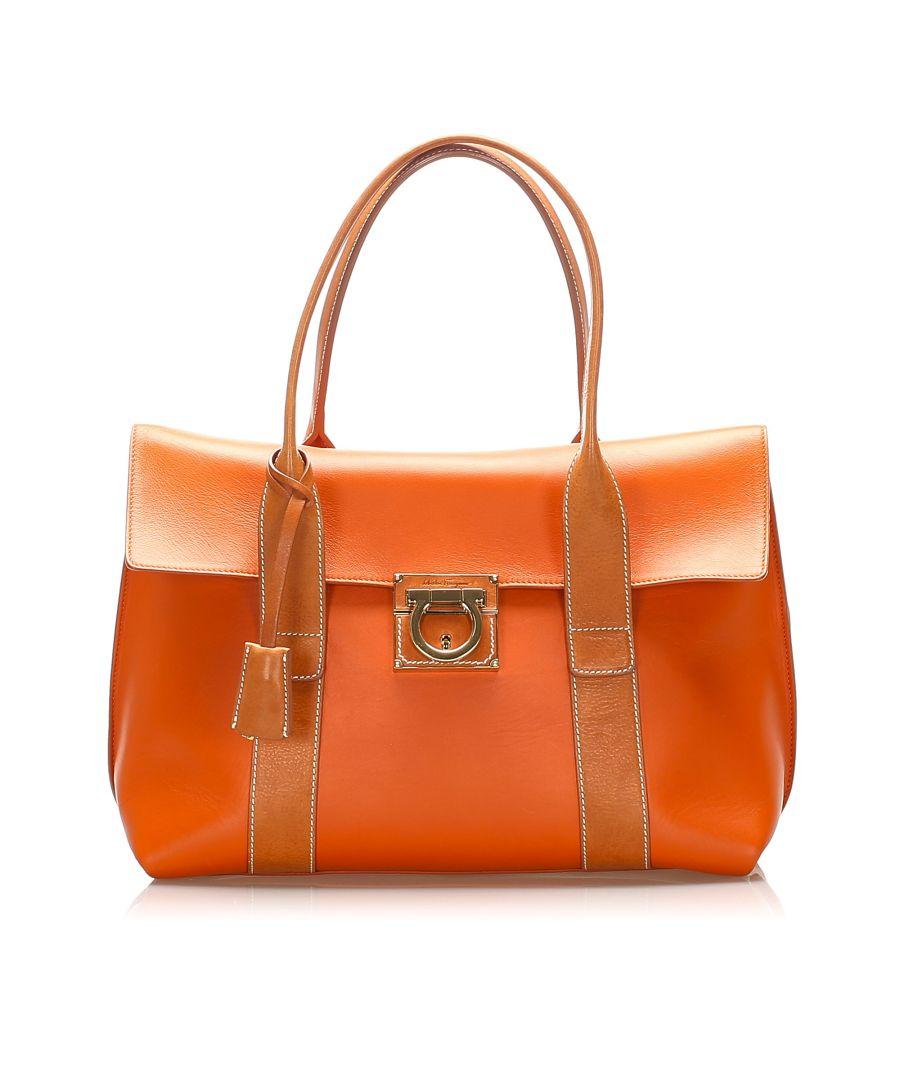 Image for Vintage Ferragamo Gancini Leather Tote Bag Brown