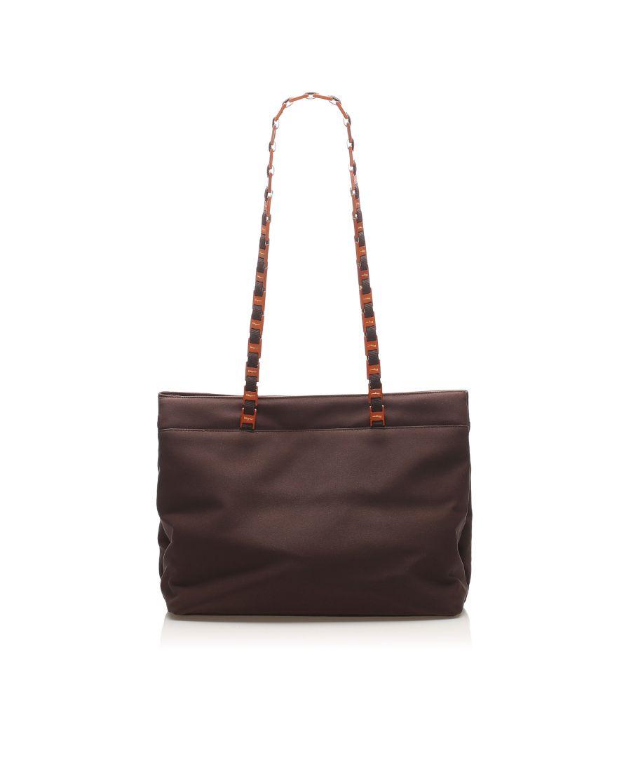 Image for Vintage Ferragamo Tiered Grosgrain Chain Tote Bag Brown