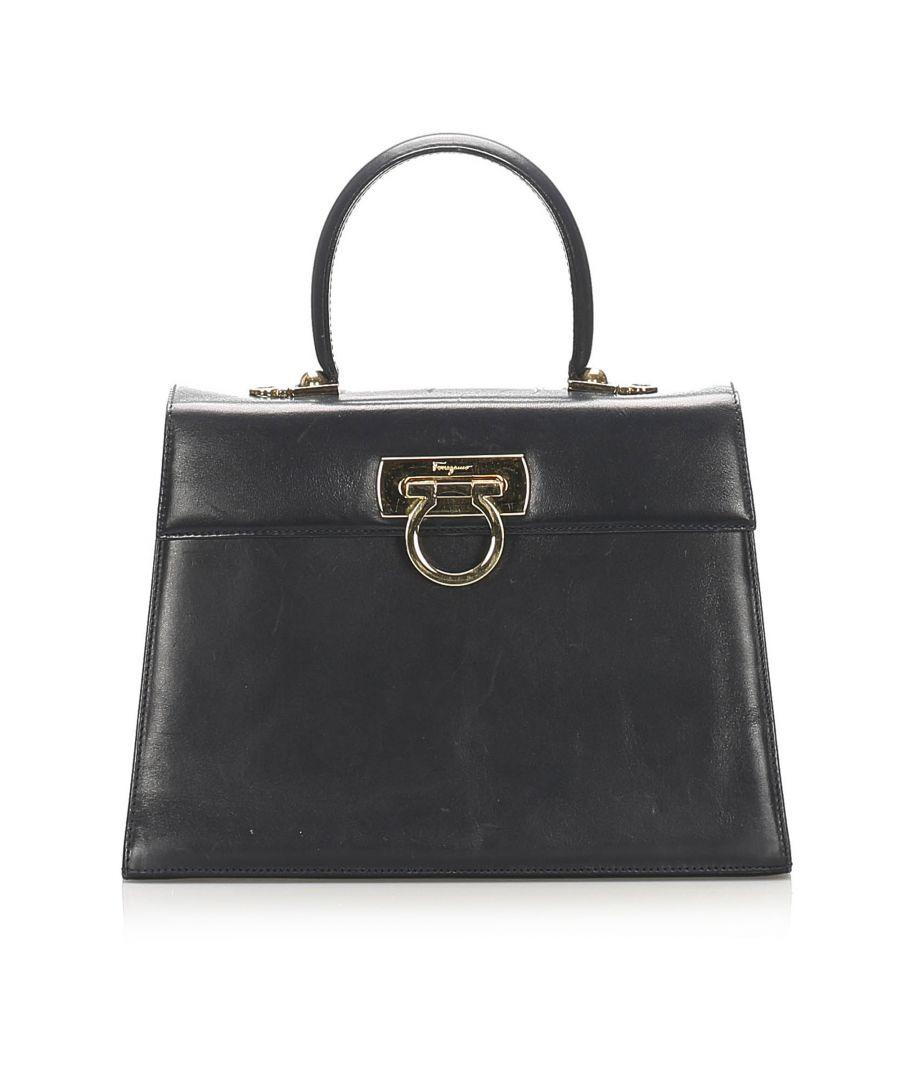 Image for Vintage Ferragamo Gancini Leather Satchel Black