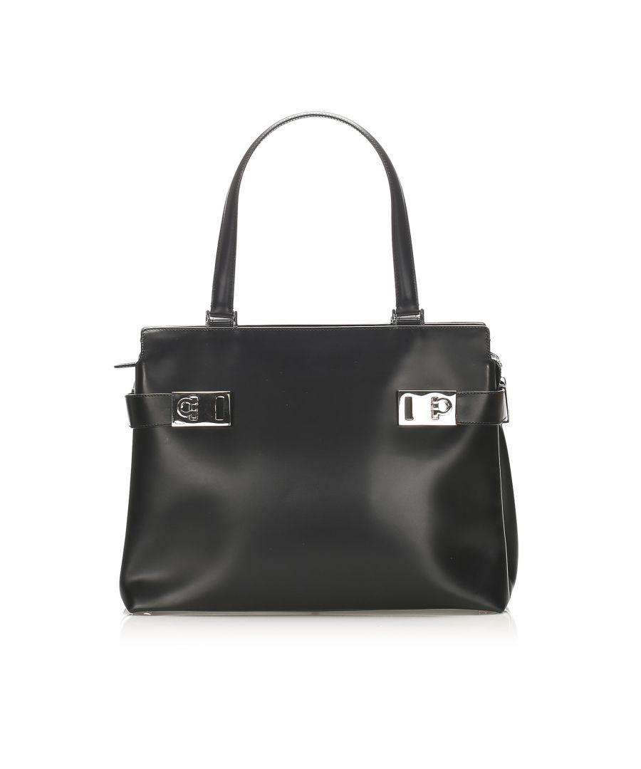 Image for Vintage Ferragamo Gancini Leather Tote Bag Black