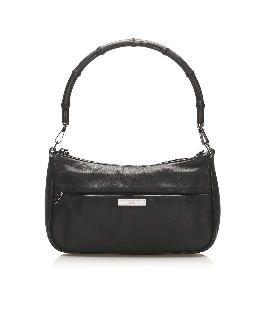 Image for Vintage Gucci Bamboo Leather Baguette Black