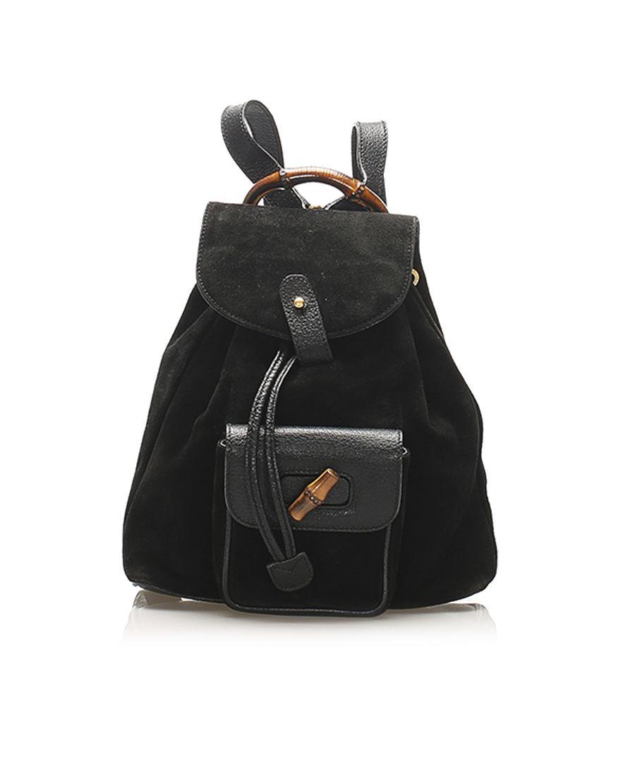 Image for Vintage Gucci Bamboo Suede Backpack Black