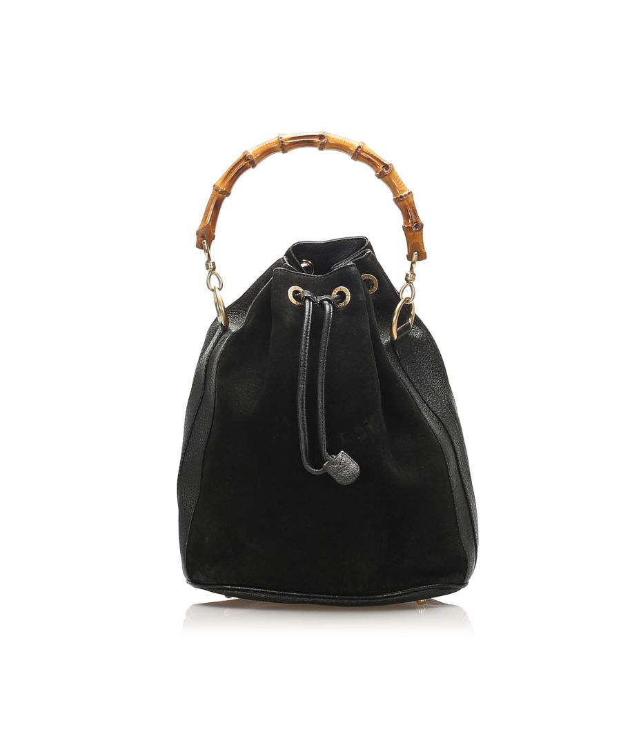 Image for Vintage Gucci Bamboo Suede Bucket Bag Black