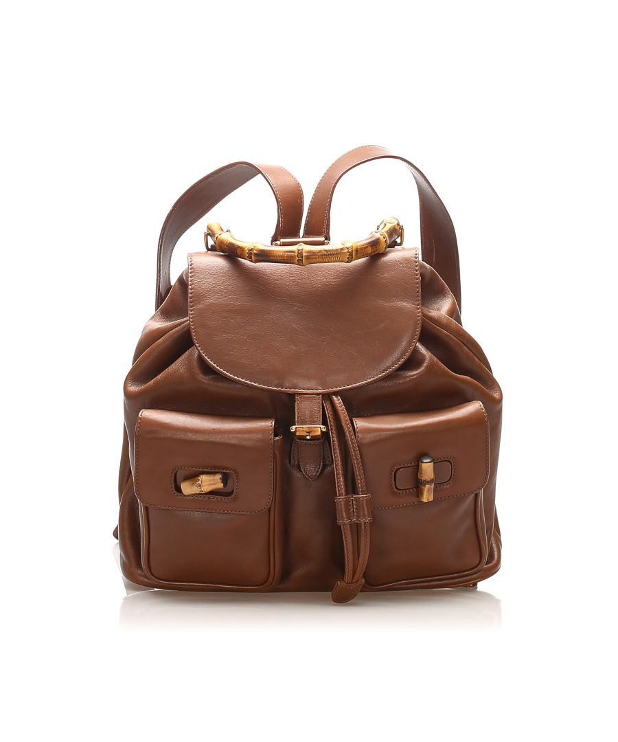 Image for Vintage Gucci Bamboo Drawstring Leather Backpack Brown