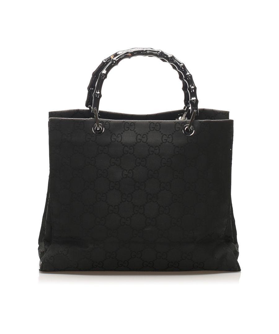 Image for Vintage Gucci Bamboo Canvas Handbag Black