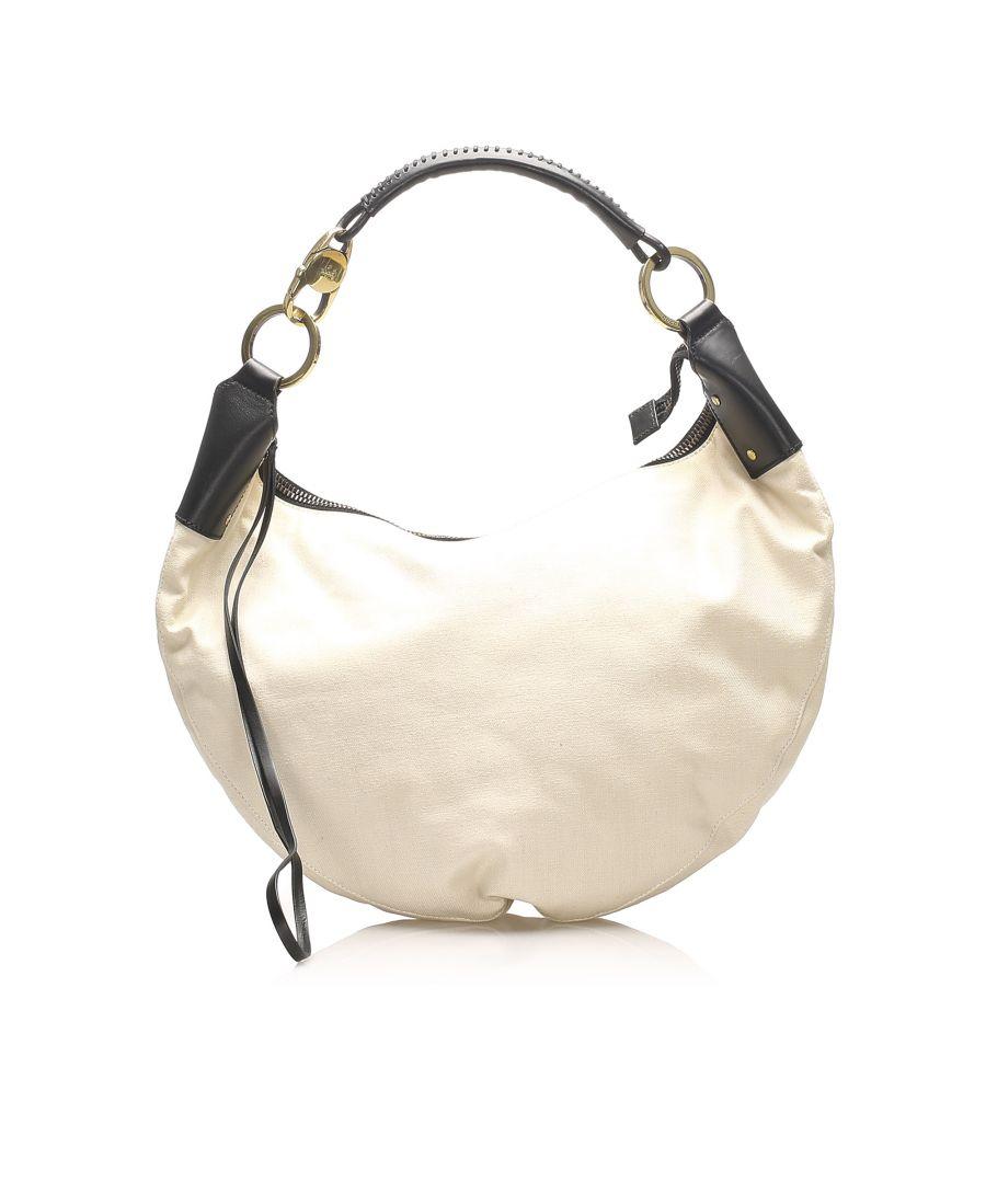Image for Vintage Gucci Half Moon Canvas Shoulder Bag White