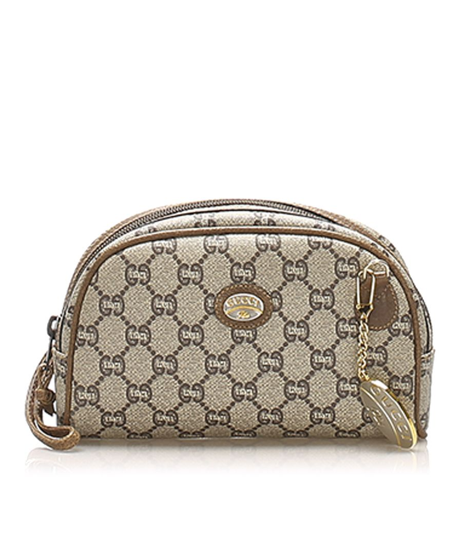 Image for Vintage Gucci GG Plus Coated Canvas Pouch Brown
