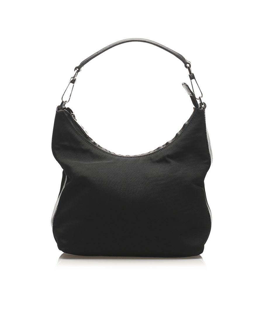 Image for Vintage Gucci Canvas Shoulder Bag Black