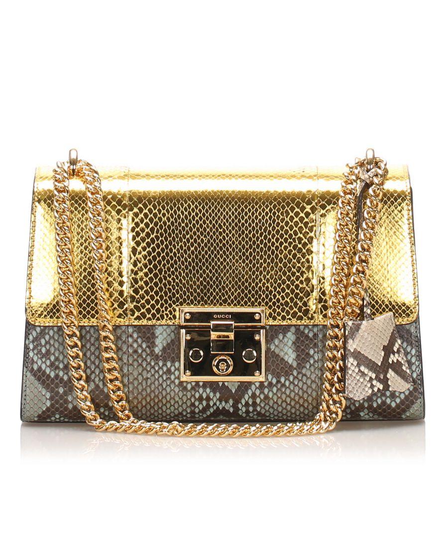 Image for Vintage Gucci Medium Padlock Python Leather Crossbody Bag Gold