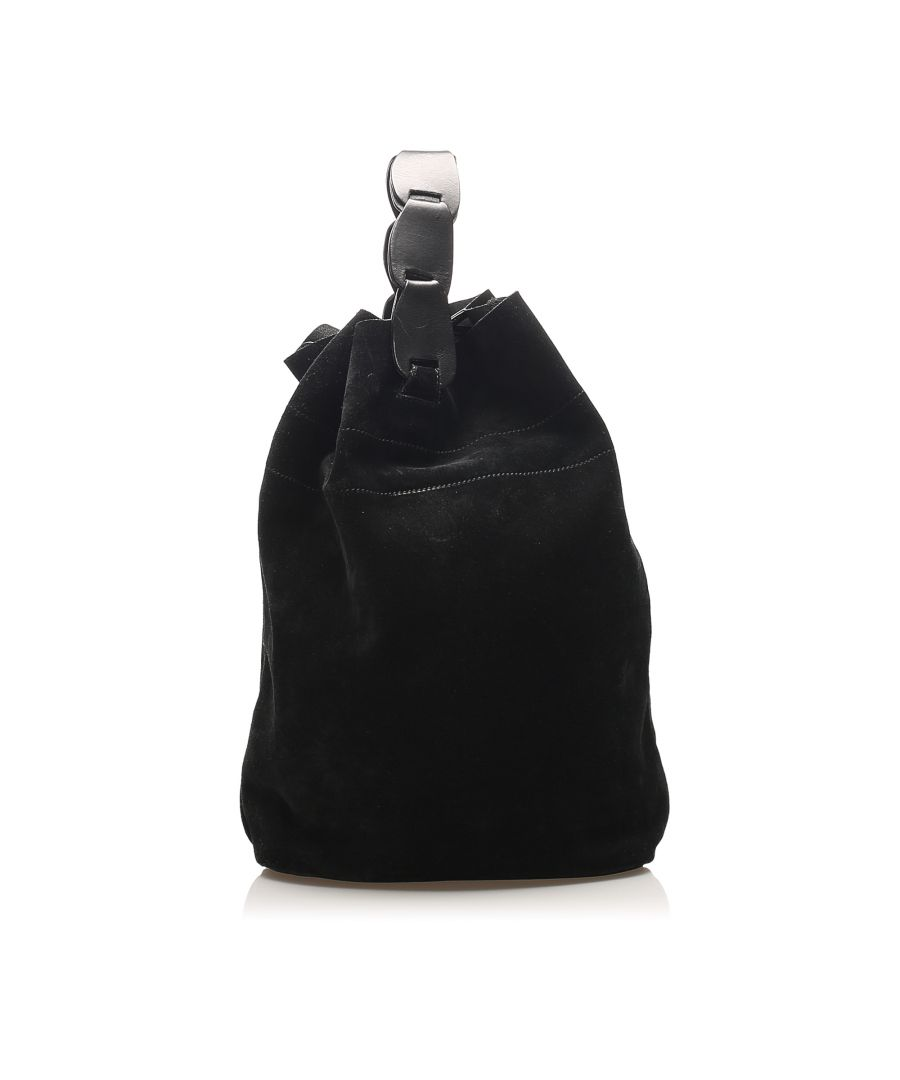 Image for Vintage Gucci Suede Bucket Bag Black