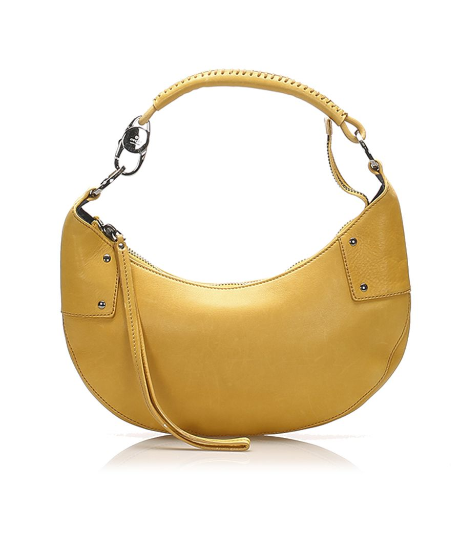 Image for Vintage Gucci Leather Hobo Bag Yellow