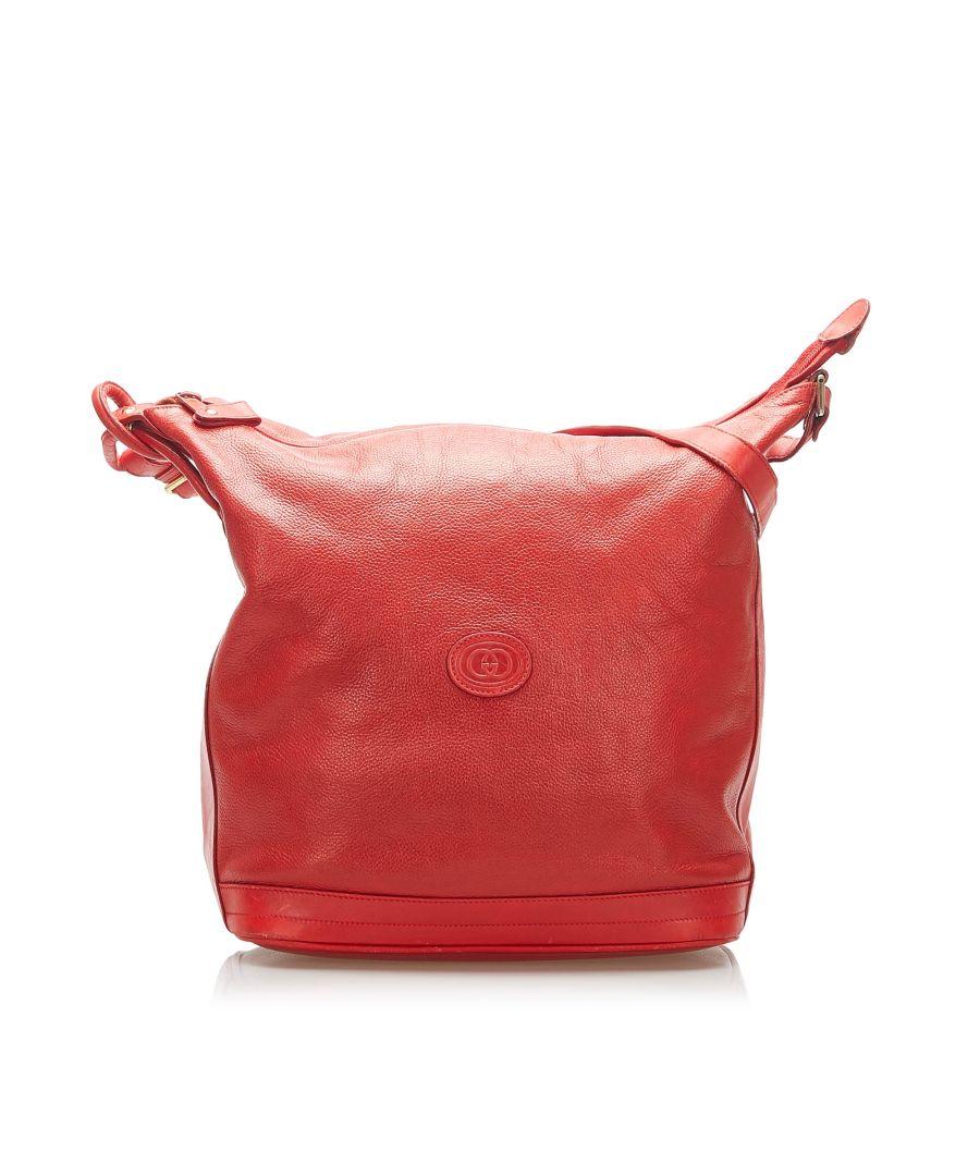 Image for Vintage Gucci Leather Shoulder Bag Red