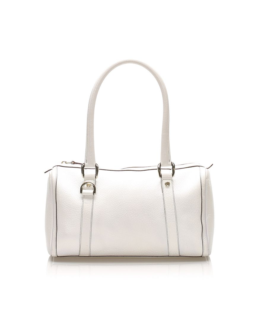Image for Vintage Gucci Abbey Leather Boston Bag White
