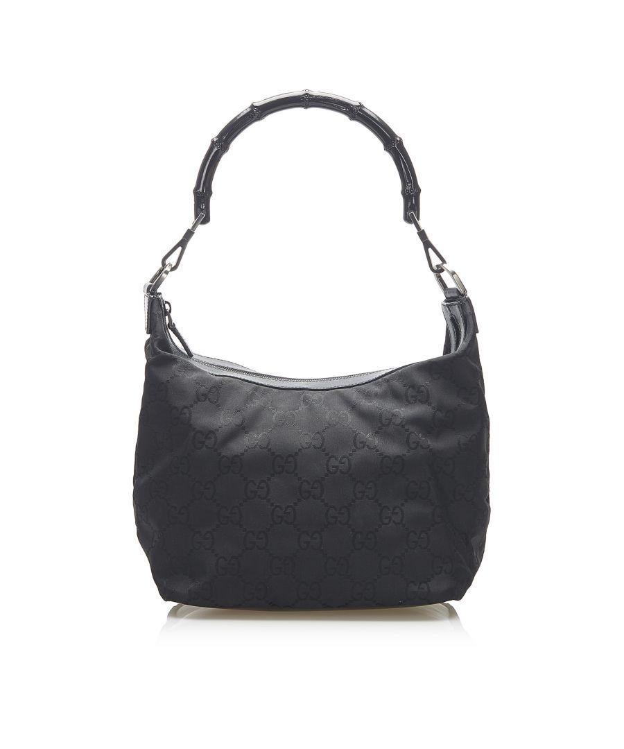 Image for Vintage Gucci GG Canvas Bamboo Shoulder Bag Black