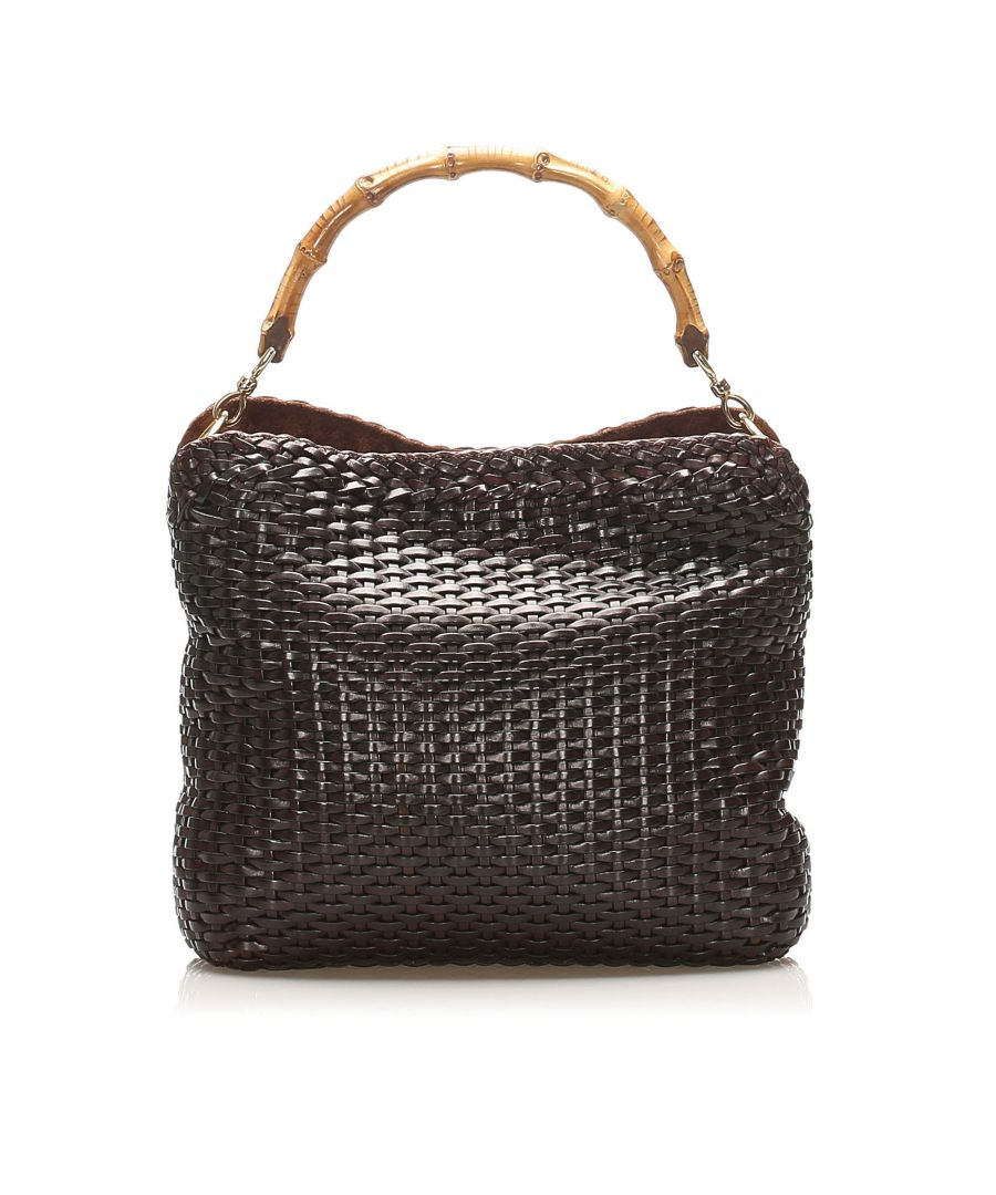 Image for Vintage Gucci Bamboo Woven Leather Satchel Black