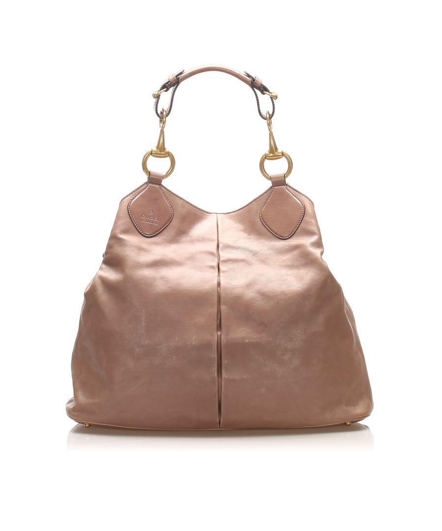 Image for Vintage Gucci Horsebit Leather Tote Bag Brown