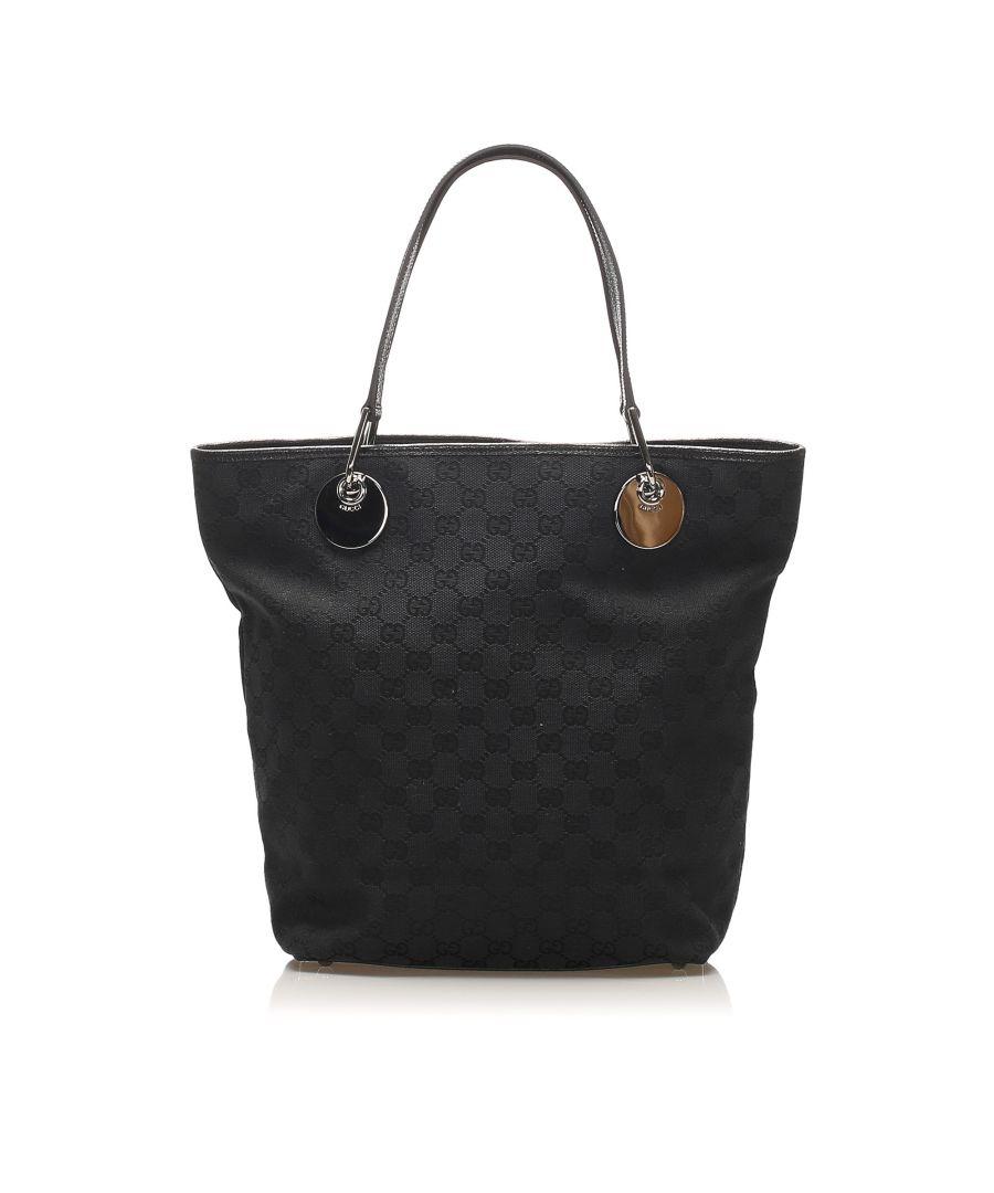 Image for Vintage Gucci GG Canvas Eclipse Tote Bag Black