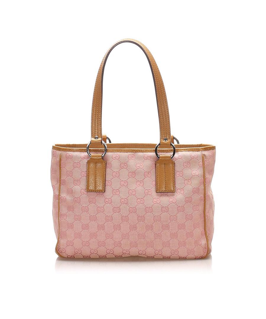 Image for Vintage Gucci GG Canvas Tote Bag Pink