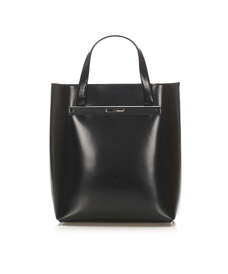 Image for Vintage Gucci Leather Tote Bag Black