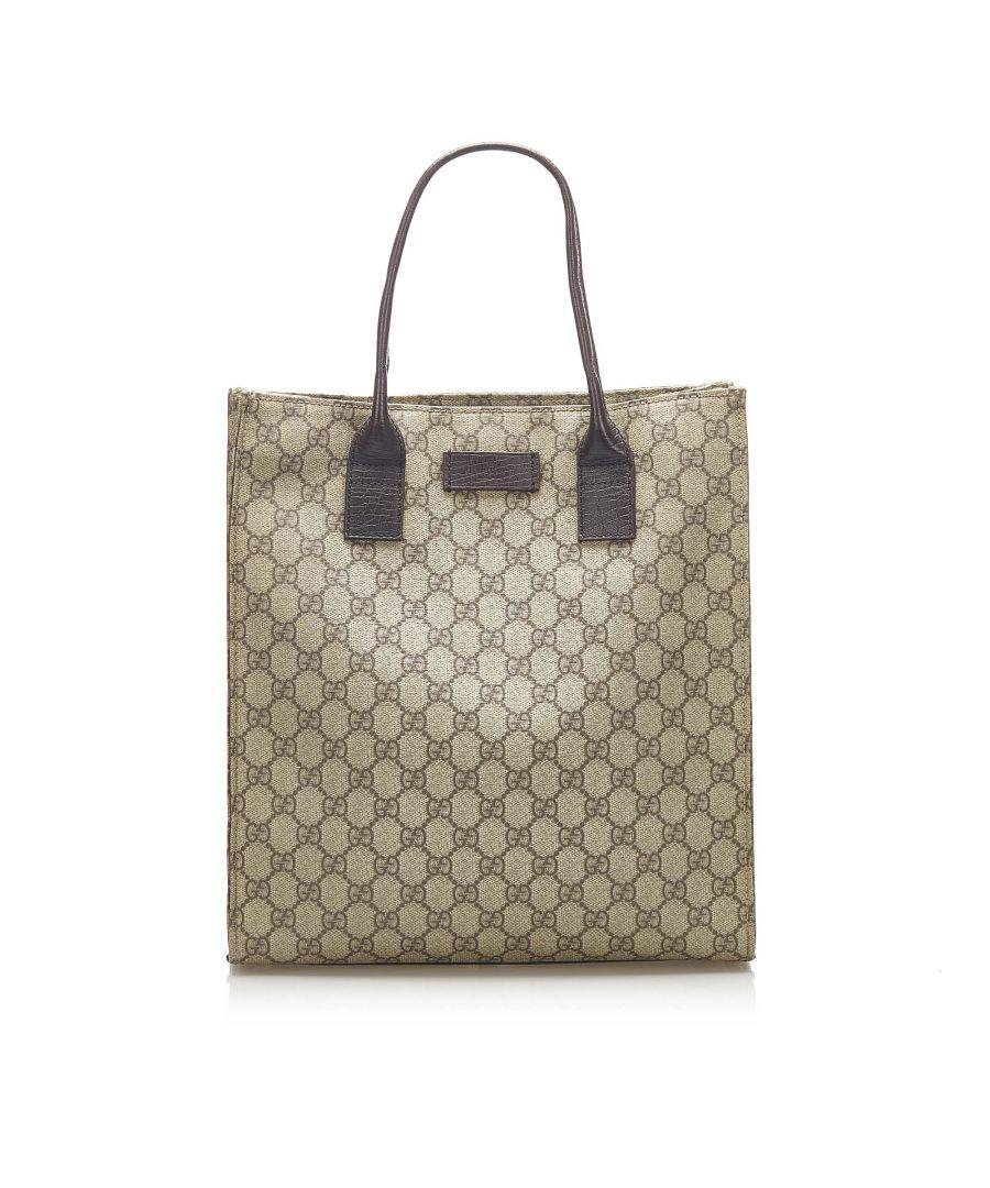 Image for Vintage Gucci GG Supreme Tote Bag Brown