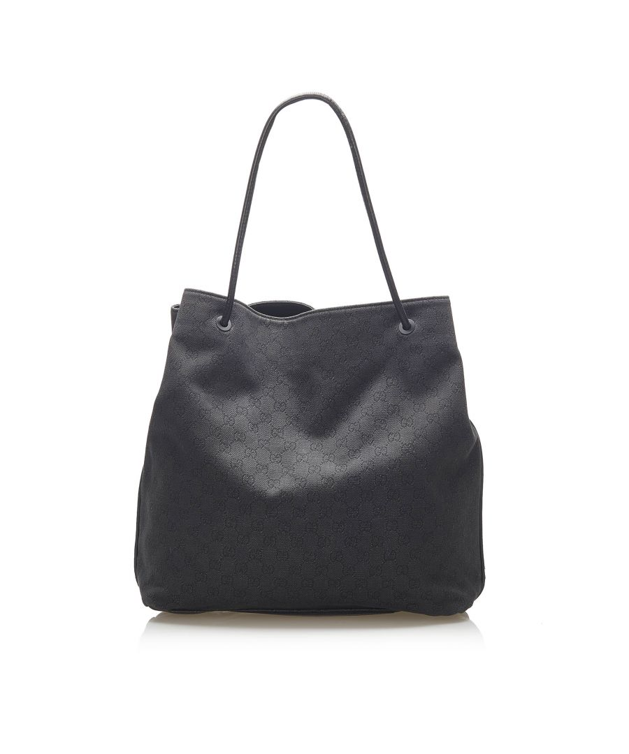 Image for Vintage Gucci GG Canvas Gifford Tote Bag Black