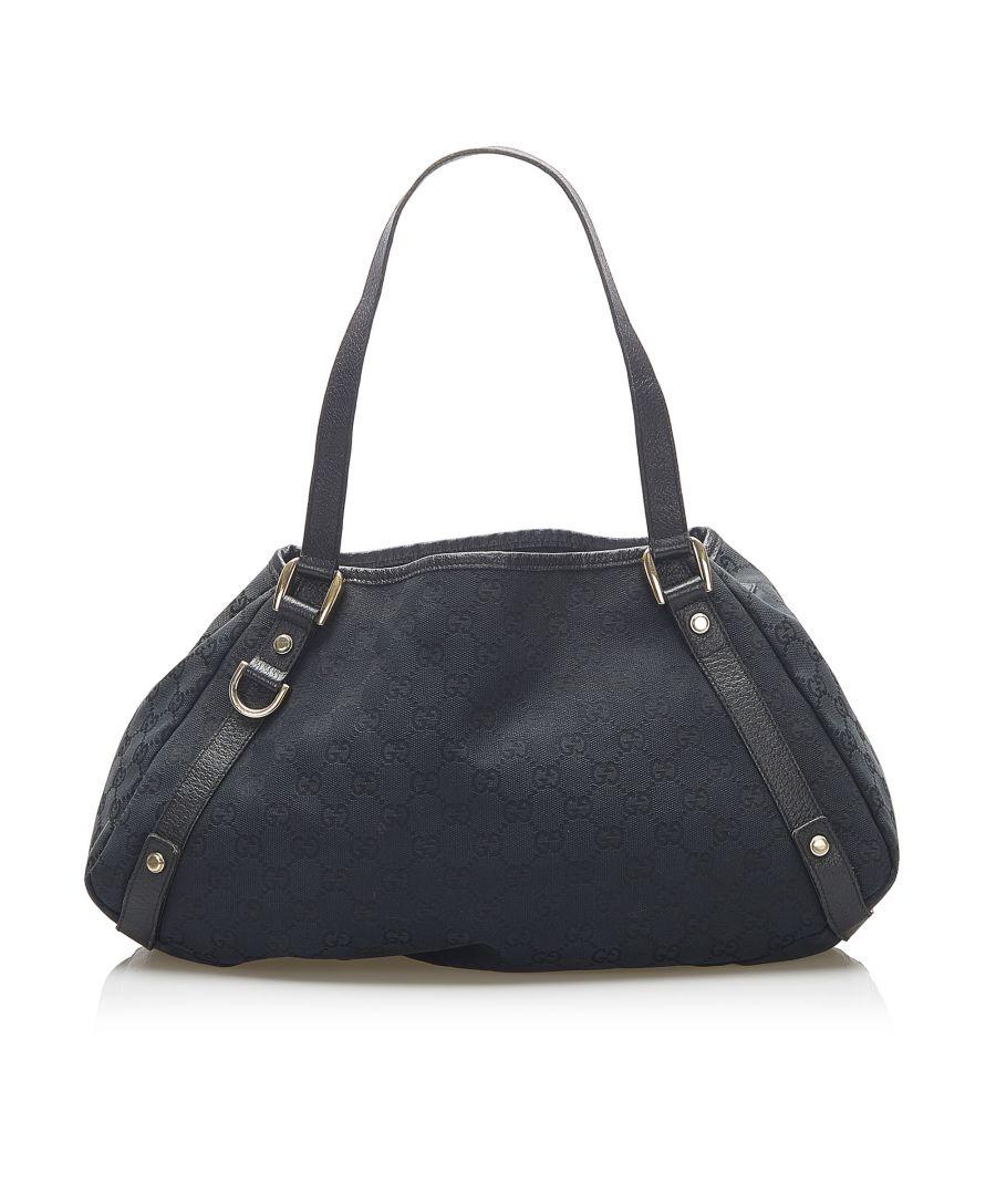 Image for Vintage Gucci GG Canvas Pelham Tote Bag Black