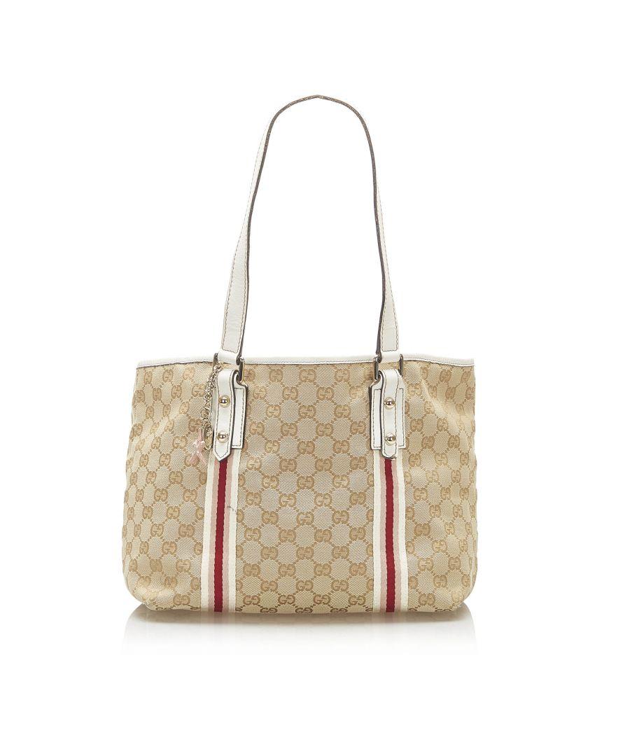 Image for Vintage Gucci GG Canvas Jolicoeur Tote Bag Brown