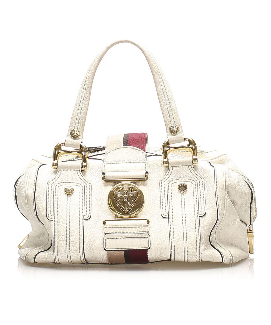 Image for Vintage Gucci Aviatrix Leather Boston Bag White