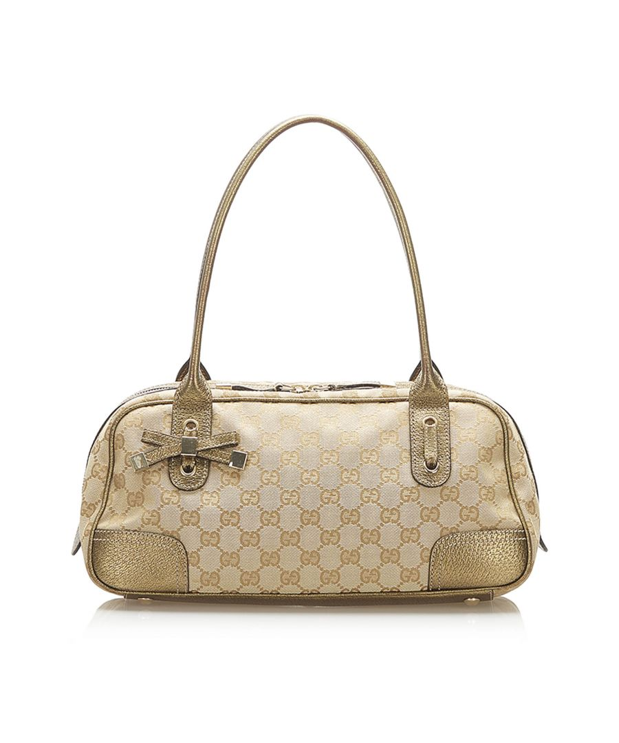 Image for Vintage Gucci GG Canvas Princy Shoulder Bag Gold