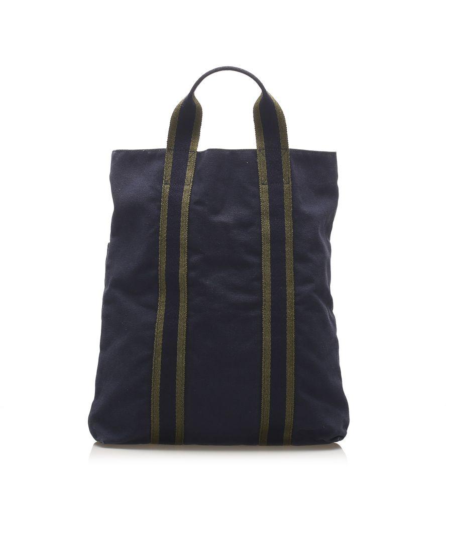 Image for Vintage Hermes Fourre Tout Cabas Blue