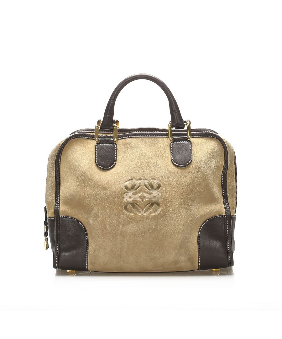 Image for Vintage Loewe Amazona Suede Handbag Brown