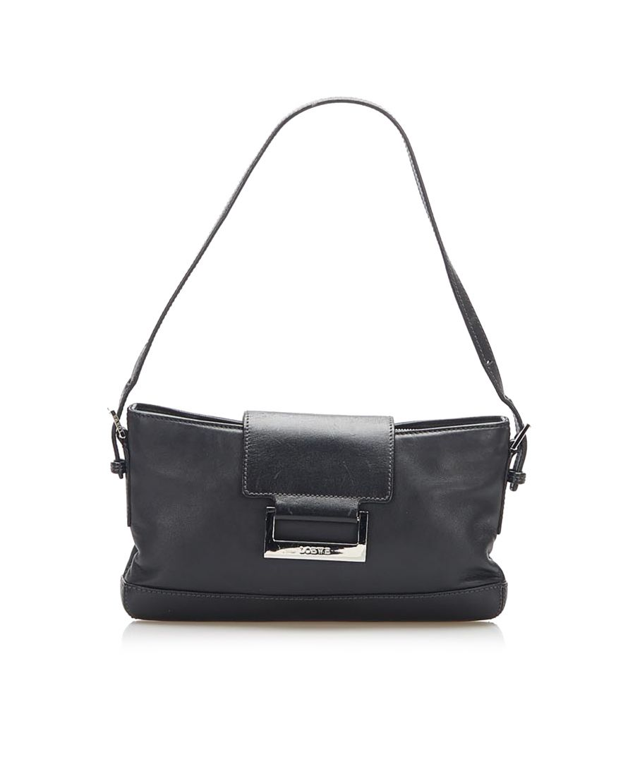 Image for Vintage Loewe Leather Baguette Black