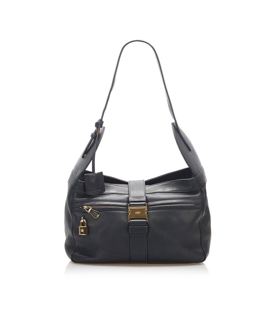 Image for Vintage Loewe Leather Shoulder Bag Black