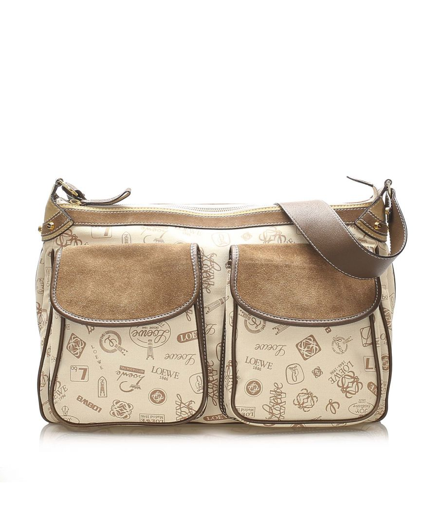 Image for Vintage Loewe 160th Anniversary Canvas Crossbody Bag Brown