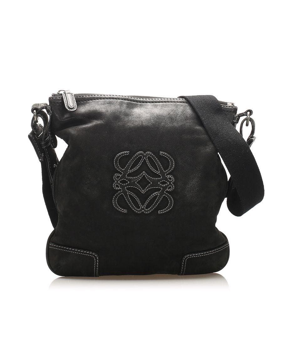 Image for Vintage Loewe Anagram Leather Crossbody Bag Black