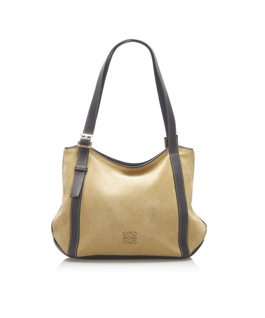 Image for Vintage Loewe Anagram Suede Leather Tote Bag Brown