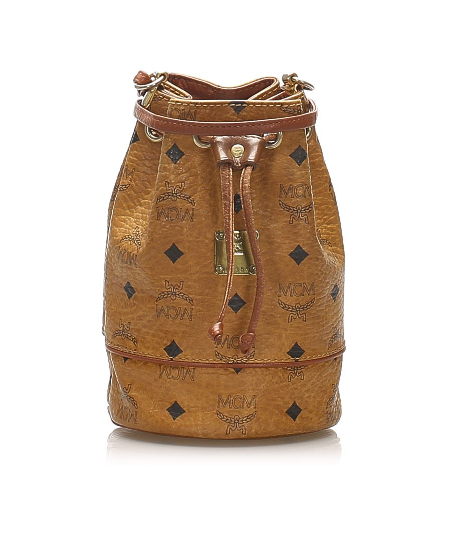 Image for Vintage MCM Visetos Drawstring Leather Bucket Bag Brown