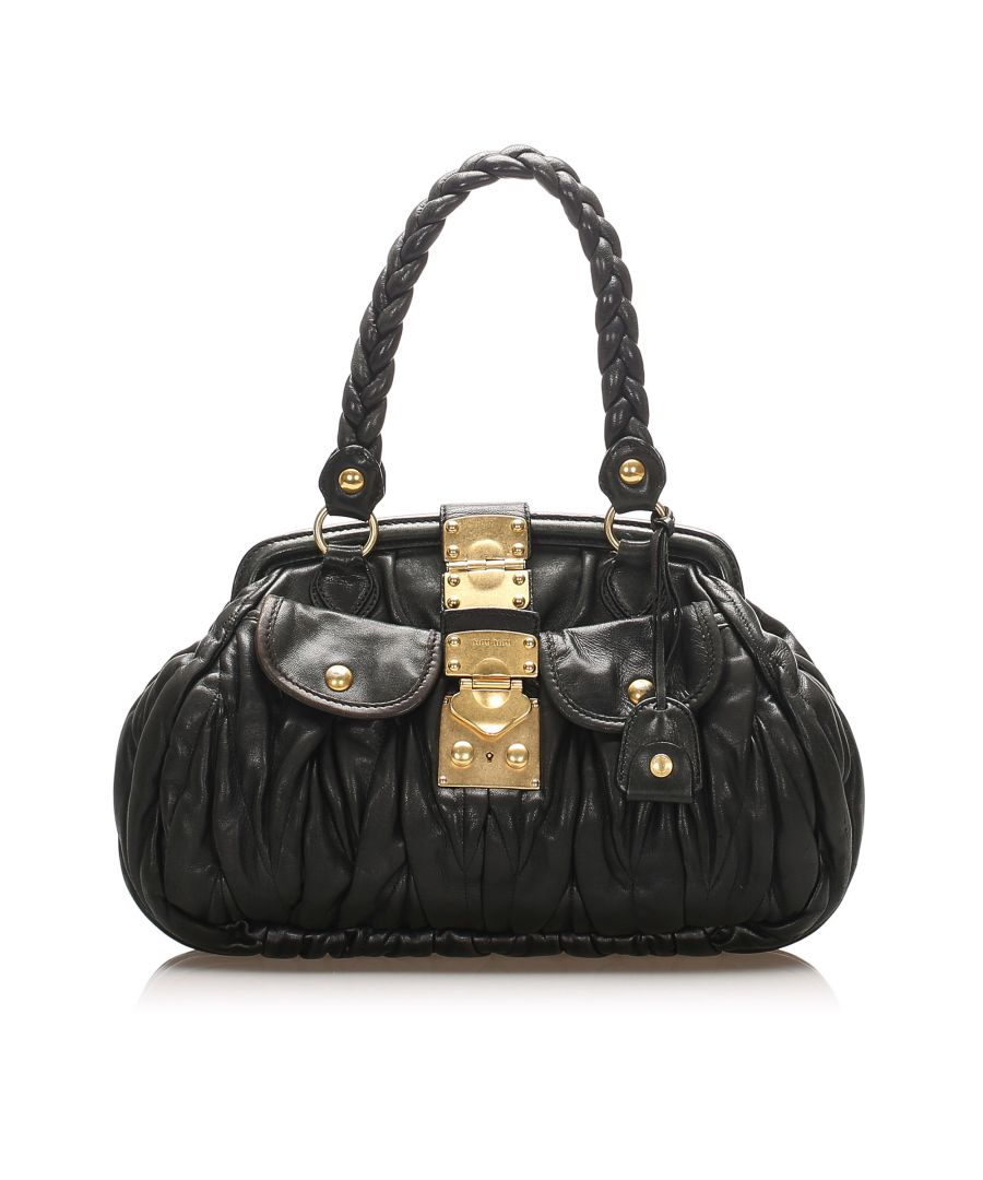 Image for Vintage Miu Miu Coffer Lambskin Leather Handbag Black