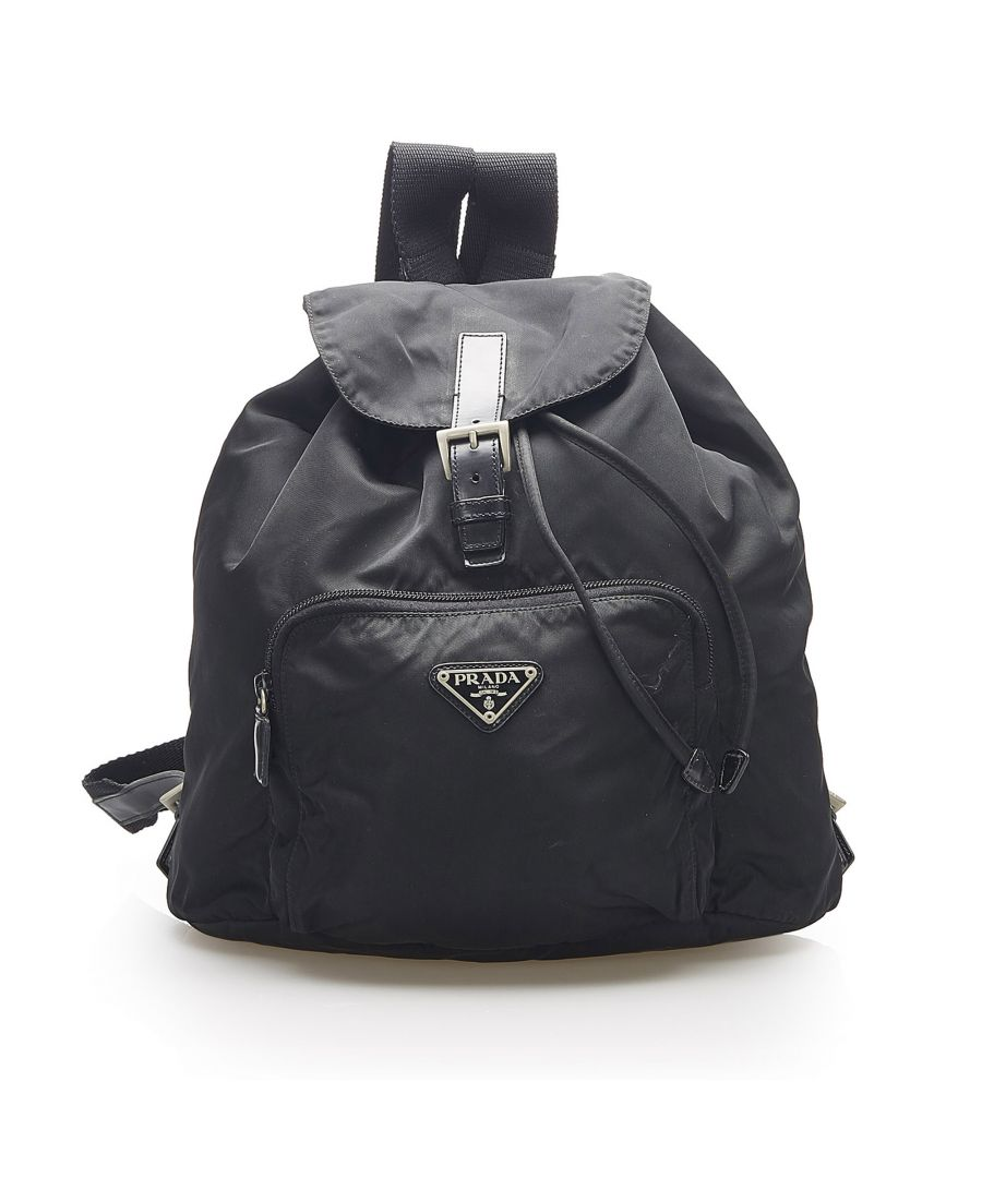 Image for Vintage Prada Tessuto Drawstring Backpack Black