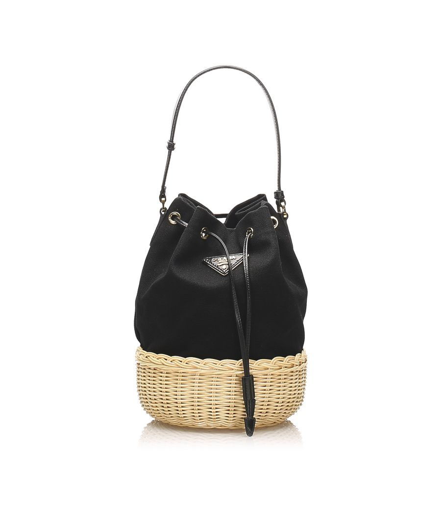 Image for Vintage Prada Canvas Bucket Bag Black