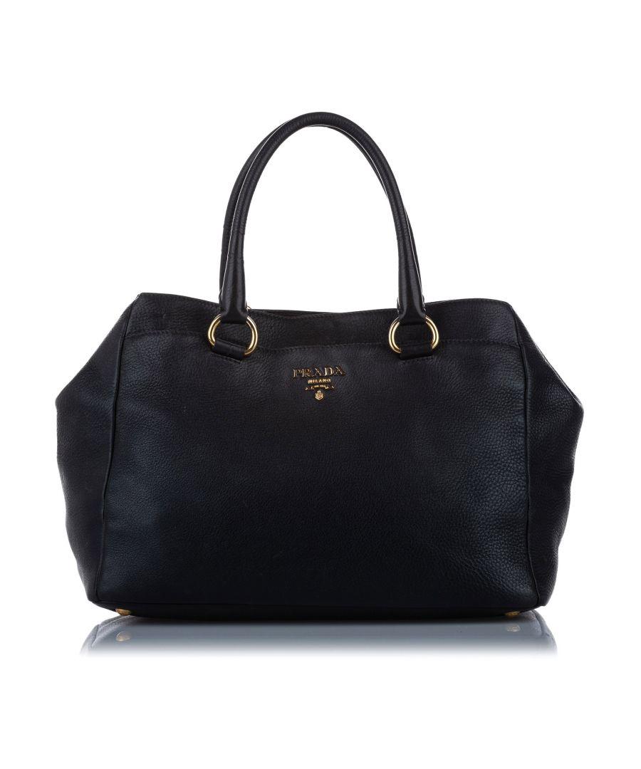 Image for Vintage Prada Vitello Daino Leather Tote Bag Black