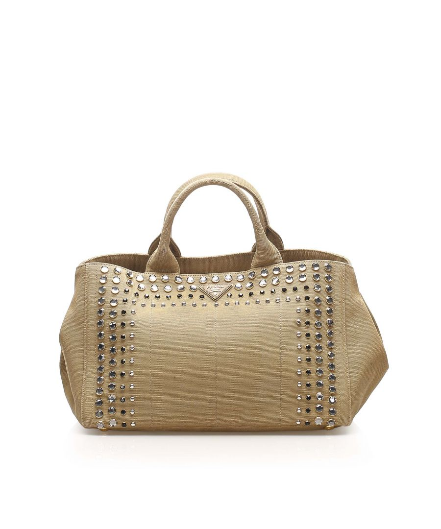 Image for Vintage Prada Canapa Studded Denim Handbag Brown