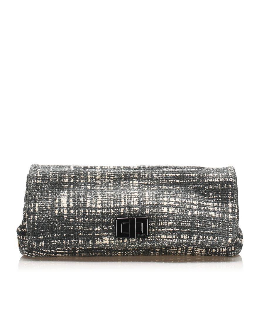 Image for Vintage Prada Tweed Clutch Bag Gray
