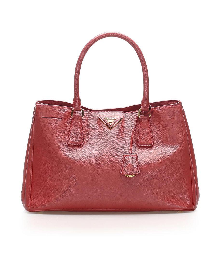 Image for Vintage Prada Saffiano Galleria Handbag Red
