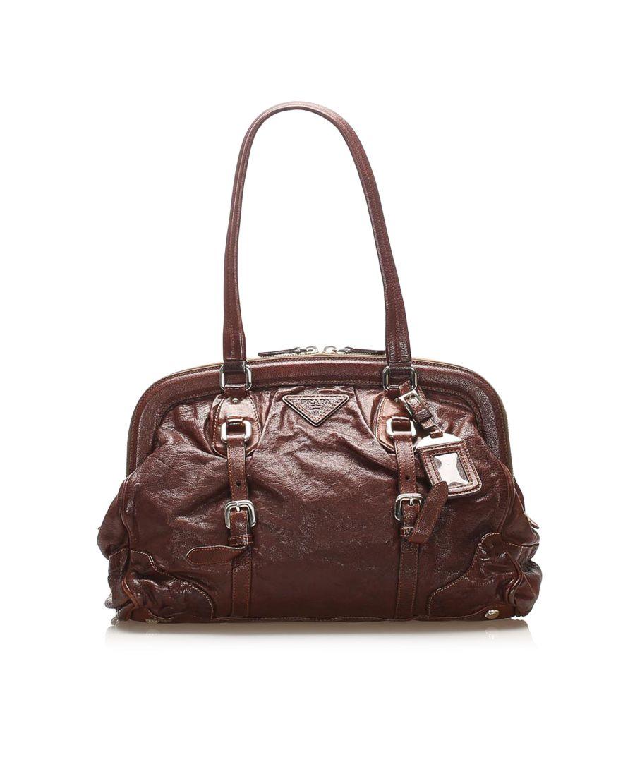 Image for Vintage Prada Frame Leather Shoulder Bag Brown