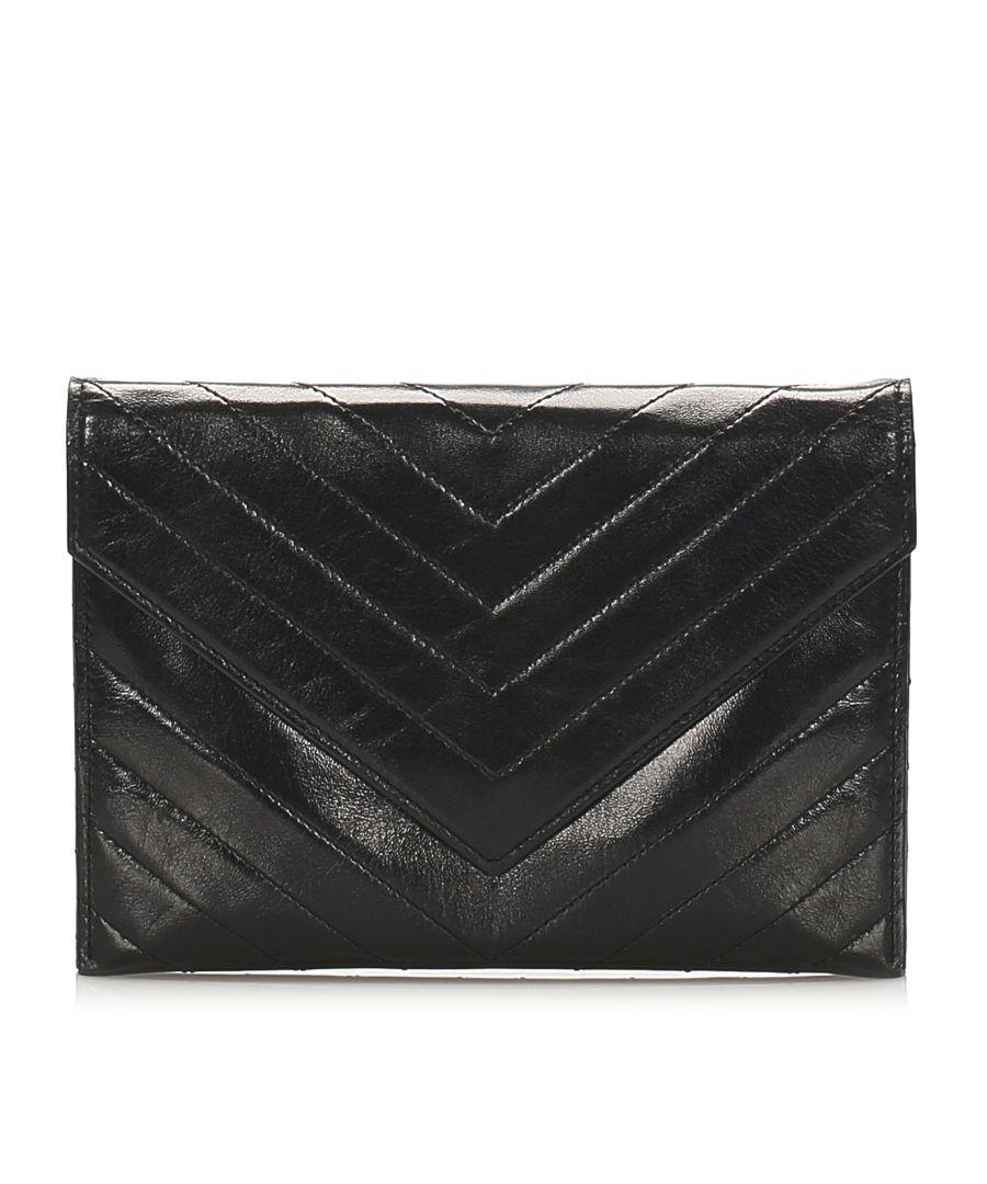 Image for Vintage YSL Chevron Leather Clutch Bag Black