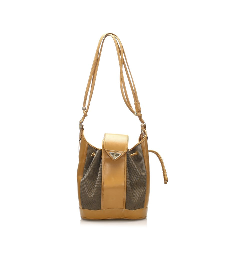 Image for Vintage YSL Drawstring Canvas Bucket Bag Brown