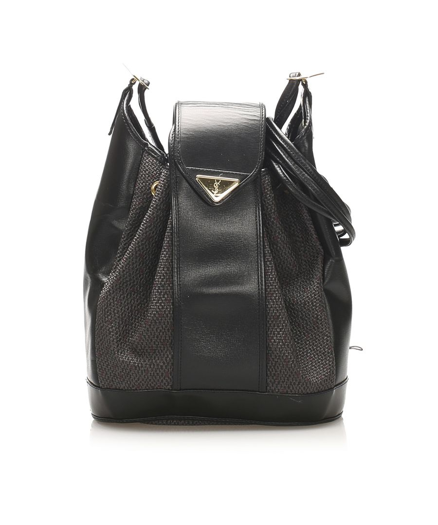 Image for Vintage YSL Drawstring Canvas Bucket Bag Black
